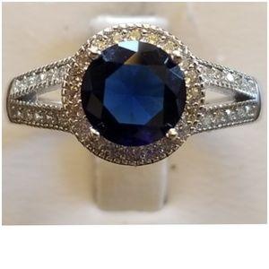 Genuine 4ct Blue & White Sapphire Ring Size 8
